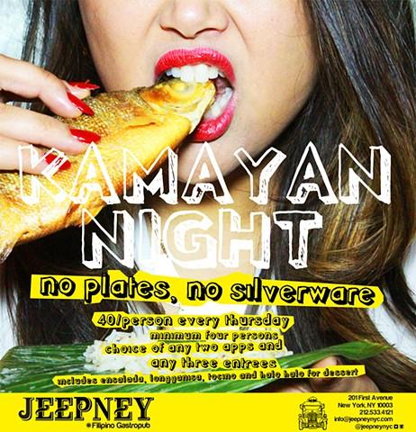 JEEPNEY Filipino Gastropub |http://www.jeepneynyc.com|_*JEEPNEY*_| Flier for KAMAYAN  NIGHT