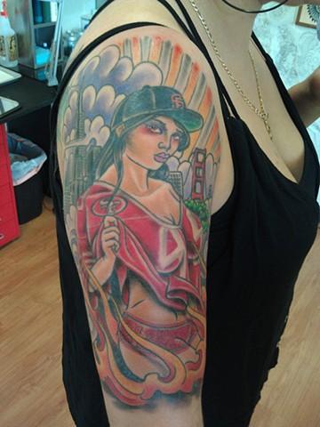Frisco Pin-up Tattoo by Mason Hogue