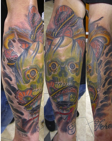 Skull and Snake tattoo, Mason Hogue