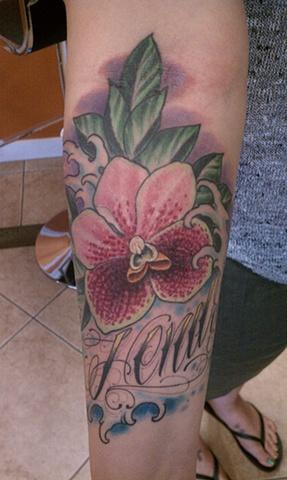 Filipino flower tattoo, tropical flower tattoo, orchid tattoo, Mason Hogue
