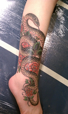 snake and roses tattoo, mason hogue