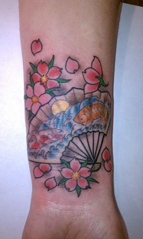 Japanese Fan Tattoo by Mason Hogue