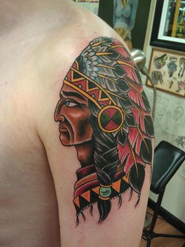 Indian Chief Tattoo by Mason Hogue