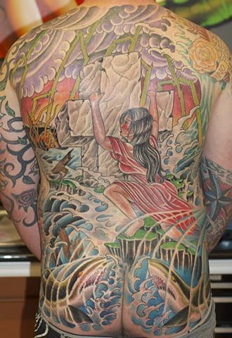Rock of Ages backpiece tattoo, Mason Hogue