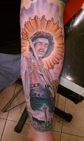 Jimi Hendrix Tattoo, Washington State tattoo,  Mason Hogue