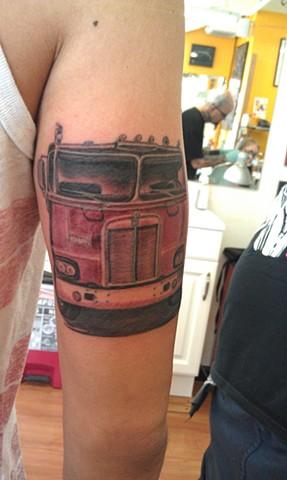Semi Truck Tattoo by Mason Hogue