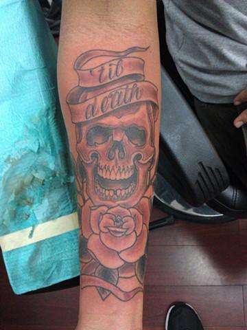 Skull & Rose Tattoo by Mason Hogue