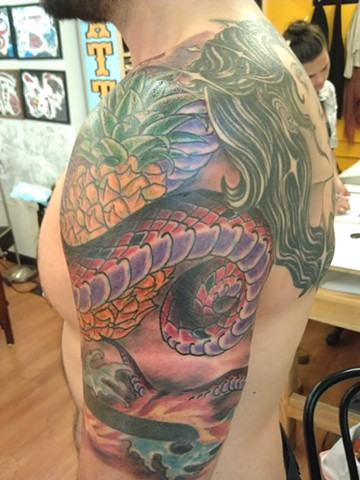 Snake & Pineaplle Tattoo by Mason Hogue