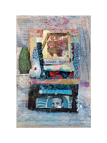 Mixed Media (paint, pencil, pen, vintage magazines, wood, fabric)