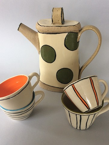 Teapot with large green dots