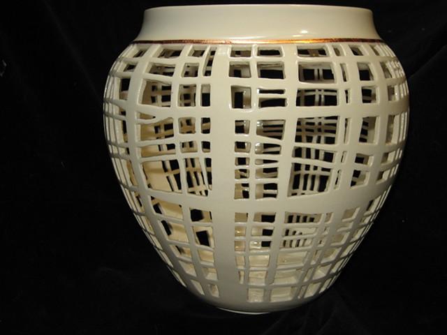 wheel thrown & hand cut porcelain- copper accent