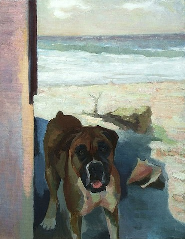 Dog art pet portrait painting of Boxer on beach in Mexico at Playa del Carmen
