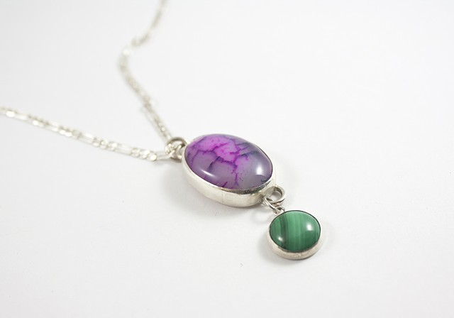 Agate and Malachite Sterling Sliver Necklace