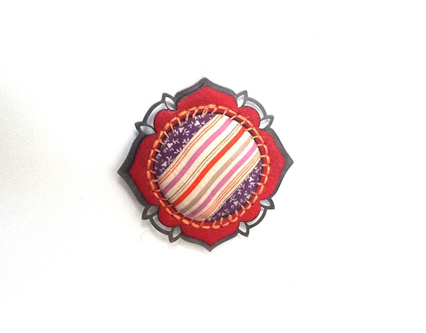 Quilted Calico and Stripe Badge