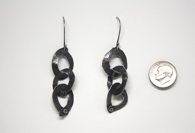 Oxidized Sterling Riveted Ring Earrings