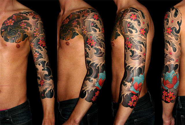 Chestplate & sleeve - koi, water, cherryblossoms and  lotus