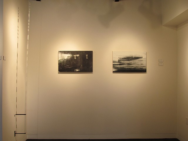 Gauge #2 with screen prints on wood panels : 'Wait' NYC and 'Steel' Danube