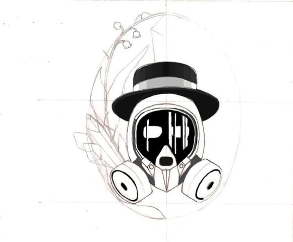 derek hart fine art illustration breaking bad heisenberg tattoo design sketch 3. Black Bedroom Furniture Sets. Home Design Ideas
