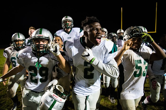 York County Tech's Jordan Ray, center, celebrates a win over Fairfield High School in YAIAA Division II football on Oct. 14, 2016. The team traditionally struggled in the division but made strides in the 2016 season.