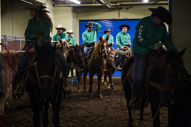 Pennsylvania High School Rodeo Association competitors await at the 2014 Pennsylvania Farm Show