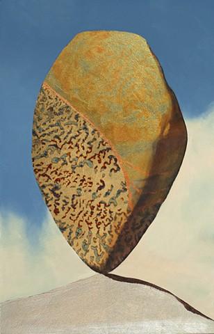 cairns, rocks, stones, metallic leaf, oil painting, guilding