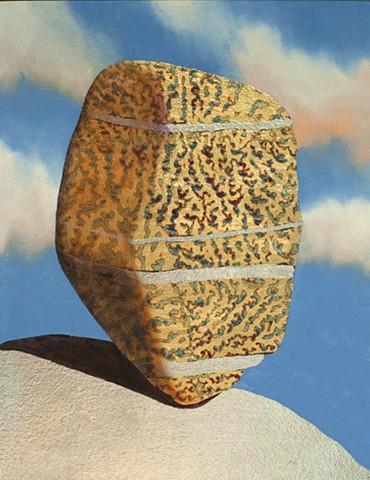 cairns, stones, rocks, metallic leaf, gold leaf, guilding, oil painting