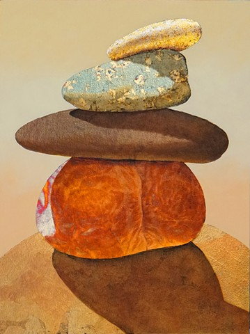 #cairn, #metallicleaf  #goldleaf  #oilpainting #magic #westernart  #susanmakara