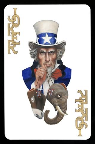 Joker card with Uncle Sam holding masks of the donkey and elephant