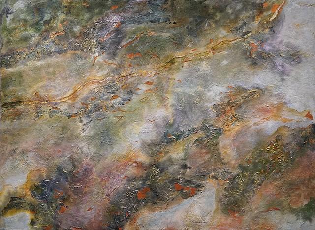 abstract, makara, acrylic, metallic leaf