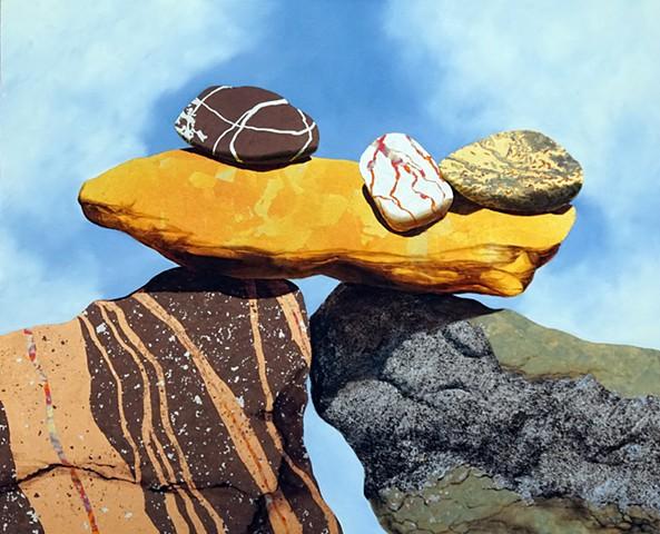 makara, rocks, cairn, stones, metallic leaf