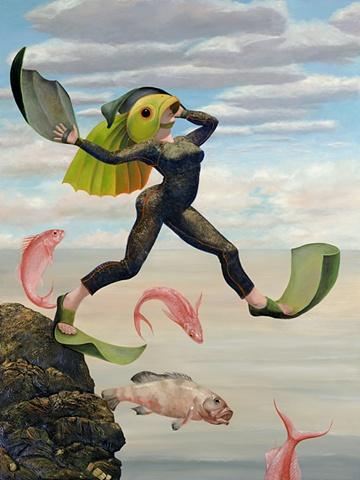 fish diquise, jumping into the sea, scuba