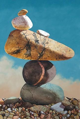 acrylic pour, metallic leaf, gold leaf, guilding, cairn, rocks, stones, makara