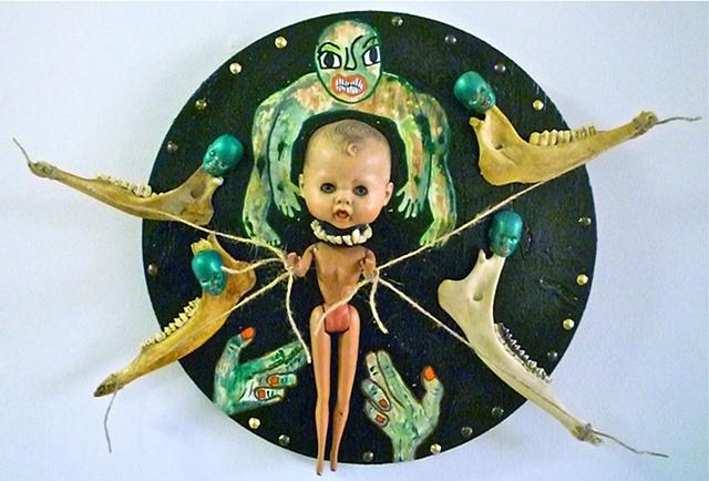 "jenniferbeinhacker.com ""self taught"" mandala ""mixed media"" ""folk art"" ""acrylic paint"" ""doll heads"" doll teeth ""jaw bones"" bones ""baby doll"" baby ""primitive art"" ""deviant art"" ""prayer wheel"" ""round art"" circle ""visionary art"" ""outsider art"" ""raw art"" surre"