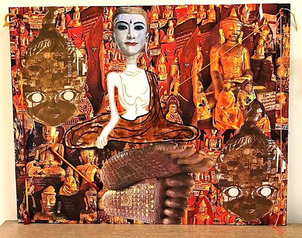 "jenniferbeinhacker.com ""self taught"" collage ""mixed media"" buddha burma myamar assemblage ""contemporary art"" ""modern art"" ""acrylic painting"" religion ""visionary art"" ""outsider art"" ""raw art"" ""naif art"" ""naive art"" gold expressionism asia"
