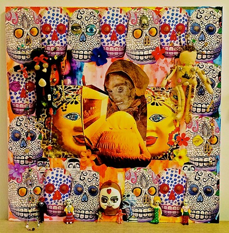 "jenniferbeinhacker.com ""self taught"" ""mixed media"" assemblage ""folk art""""found objects"" ""day of the dead"" ""dia de los muertos"" shrine totem woman beads   ""outsider art"""