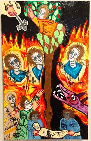 "jenniferbeinhacker.com ""self taught"" ""acrylic painting"" ""church art"" ""religious figures"" Ethiopia ""Jesus Christ""  ""visionary art"" ""outsider art"" ""art brut"" ""raw art"" ""primitive art"" ""deviant art"" collage ""mixed media"" ""modern art"" ""contemporary art"" fire"