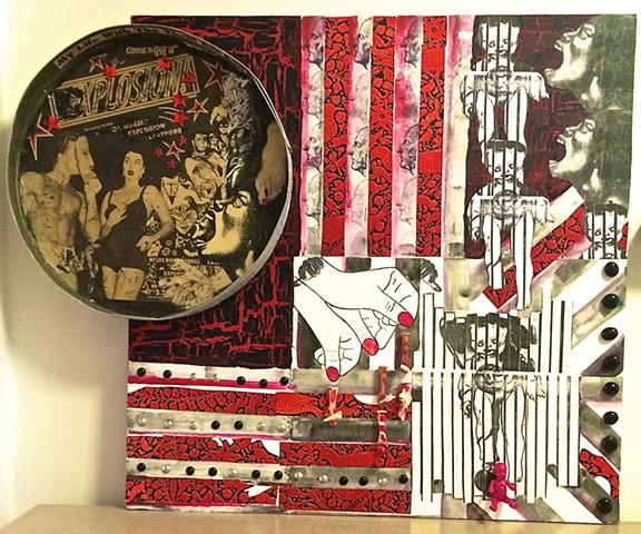 "jenniferbeinhacker.com ""self taught"" mandala collage assemblage ""outsider art"" ""visionary art"" ""raw art"" ""art brut"" ""modern art"" ""contemporary art"" ""primitive art"" ""deviant art"" ""naif art"" ""naive art"" women men woman man baby toys stamps hands faces face"