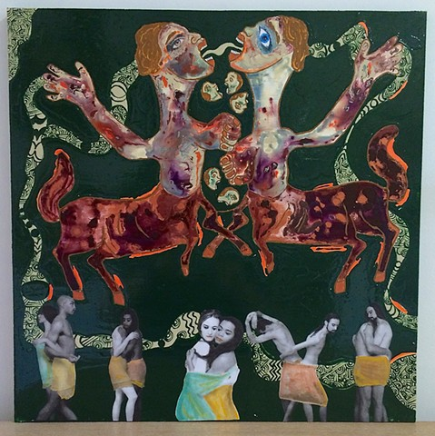 "jenniferbeinhacker.com ""self taught"" ""mixed media"" collage ""folk art"" ""sharpie pen"" eyes hands mouth teeth faces horses ""tied up"" joined entwined pattern ""art on wood"" surrealism  woman women man men ""acrylic paint"" painting             ""primitive art""""mo"