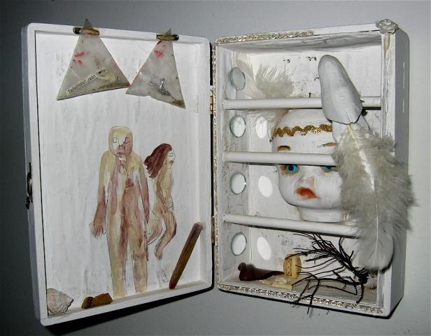 "jenniferbeinhacker.com ""self taught"" ""white box series"" ""mixed media"" assemblage collage ""folk art"" ""acrylic paint"" ""water color paint"" ""box art"" ""art in a box"" ""fruit box"" dolls  beads stones shells men women children faces hands sequins ""visionary art"""