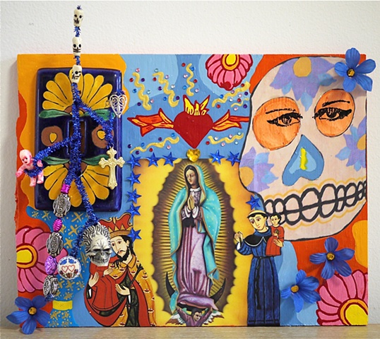 "jenniferbeinhacker.com  assemblage  shrines totems ""day of the dead"" ""dia de los muertos"" Mexico beads stones jewels jenniferbeinhacker.com  assemblage ""self taught"" ""acrylic painting """"acrylic paint"" ""folk art"" ""mixed media"" ""water color paint"" collage"