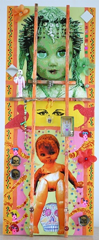 """jenniferbeinhacker.com  assemblage  shrines totems """"day of the dead"""" """"dia de los muertos"""" Mexico beads stones jewels jenniferbeinhacker.com  assemblage """"self taught"""" """"acrylic painting """"""""acrylic paint"""" """"folk art"""" """"mixed media"""" """"water color paint"""" collage """""""