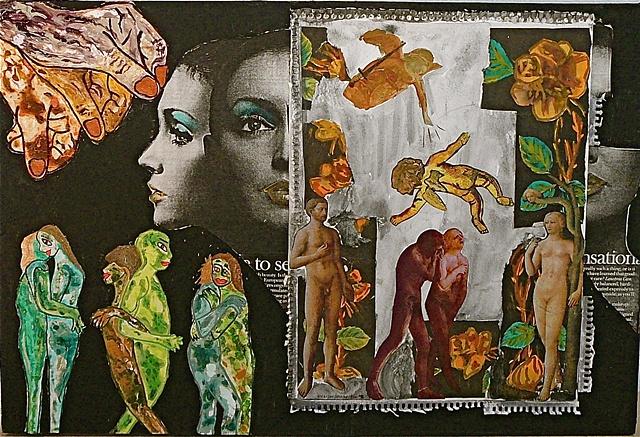 "jenniferbeinhacker.com collage ""self taught"" ""acrylic painting """"acrylic paint"" ""folk art"" ""mixed media"" assemblage ""water color paint"" women men children faces hands dolls surrealism expressionism ""visionary art"" ""primitive art"" ""deviant art"" ""folk art"""