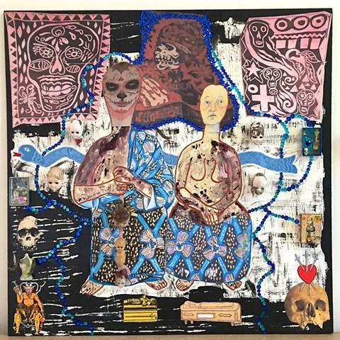"jenniferbeinhacker.com ""self taught"" ""mixed media"" assemblage collage ""acrylic paint"" ""found objects"" ""outsider art"" voudou voodoo ""visionary art"" ""deviant art"" ""primitive art"" ""contemporary art"" ""art brut"" ""folk art"" ""art naif"" ""naive art"" skulls ""doll's"