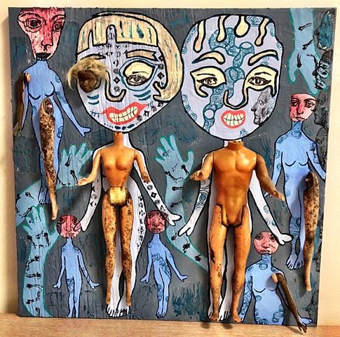 "jenniferbeinhacker.com ""self taught"" assemblage collage ""acrylic painting"" metallic paint"" ""crackle paint"" ""visionary art"" ""outsider art"" ""art brut"" ""art naif"" ""naive art"" ""primitive art"" ""deviant art"" ""modern art"" ""contemporary art"" toys ""barbie dolls"" s"