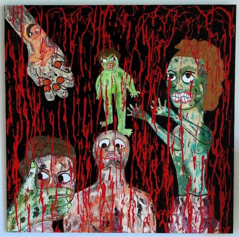 "jenniferbeinhacker.com ""self taught"" ""acrylic painting"" painting blood ""red paint"" ""mythological creatures"" ""visionary art"" ""outsider art"" ""raw art"" ""art on wood"" ""naïf art"" ""primitive art"" ""deviant art"" women men children hands faces ""folk art"" ""mixed me"