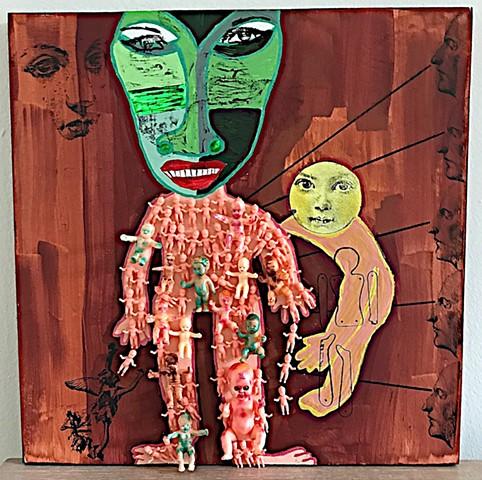 "jenniferbeinhacker.com ""self taught"" assemblage ""mixed media"" babies ""baby dolls"" toys ""acrylic paint"" ""metallic paint"" stamps ""folk art"" ""outsider art"" ""visionary art"" ""primitive art"" ""art brut"" ""naif art"" ""naive art"" ""modern art"" ""contemporary art"" ""dev"