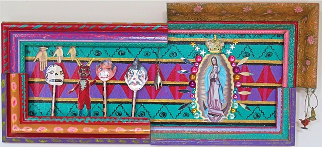 """jenniferbeinhacker.com  assemblage  shrines totems """"day of the dead"""" """"dia de los muertos"""" Mexico beads stones jewels assemblage """"self taught"""" """"acrylic painting """"""""acrylic paint"""" """"folk art"""" """"mixed media"""" """"water color paint"""" collage """"box art"""" """"art in a box"""""""