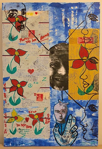 "jenniferbeinhacker.com ""self taught"" collage ""mail art"" envelopes, stamps, watercolor paint, ""viet nam"" letters text ""folk art"" ""mixed media"" ""acrylic paint"" ""metallic paint"" photograph, ""outsider art"" ""visionary art"" ""raw art"" ""contemporary art"" ""modern"