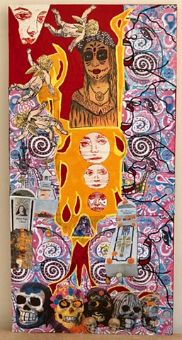 """jenniferbeinhacker.com """"self taught"""" """"dia de los muertos"""" """"day of the dead"""" """"acrylic paint"""" """"metallic paint"""" mexico """"san miguel de allende"""" collage """"mixed media"""" """"folk art"""" """"religious painting"""" religion burial cemetery flowers woman women stamps angels fa"""