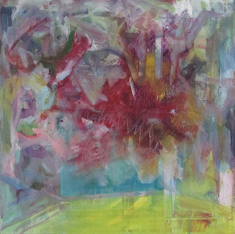 Abstract floral oil painting